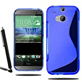 HTC One M8 Model 2014 Grip S Line Wave Silicone Case Gel Skin Cover + Screen Protector + Stylus (Blue)