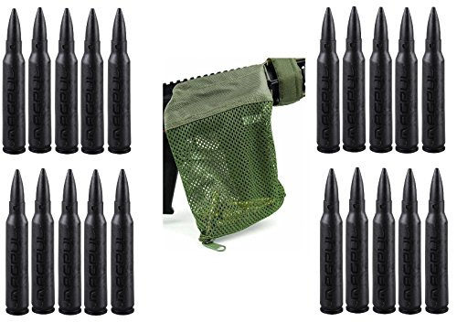 Magpul 215 Black 5.56 Pack Of 20 Dummy Ammo + Ultimate Arms Gear Tactical Od Olive Drab Green Deluxe Mesh Ar15 Ar-15 .223 5.56 Rifle Brass Shell Bullet Catcher Bag