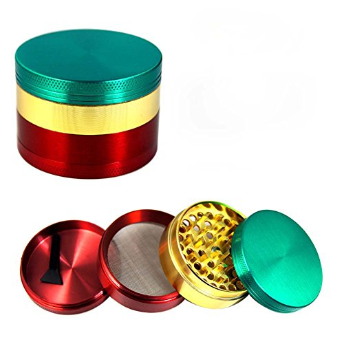 UTOPP-Tobacco-Herb-Grinders-Mill-4-Parts-Diameter-216-inches-Zinc-Alloy-Pollen-Spice-Grinder-Compact-Teeth-with-Sifter-Magnetic-Top-Assorted-Color