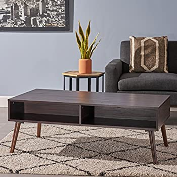 Andy Mid Century Modern Fuax Wood Overlay Coffee Table, Dark Walnut