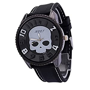 Men's Fashion Cool Sports Style Wristwatch Silicon Skull Punk Quartz Wrist Watch (White)