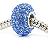 925 Sterling Silver Vivid Blue Crystal Charm Bead For Pandora Troll Chamilia Style Bracelets By Truly Charming®