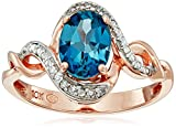 10k Rose Gold London Blue Topaz and Diamond Accent Ring, Size 7