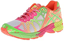 Asics Gel-Noosa TRI 9 GS Running Shoe (Little Kid/Big Kid),White/Lime/Hot Pink,5.5 M US Big Kid