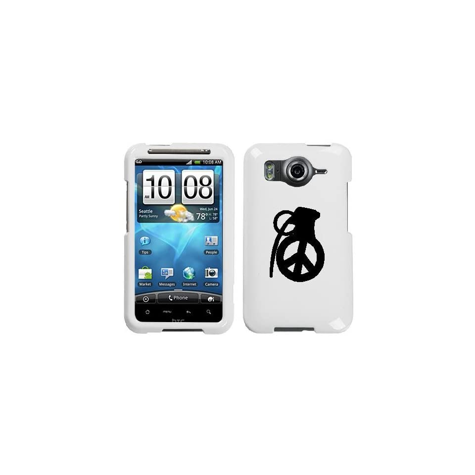 HTC INSPIRE 4G BLACK PEACE GRENADE ON A WHITE HARD CASE