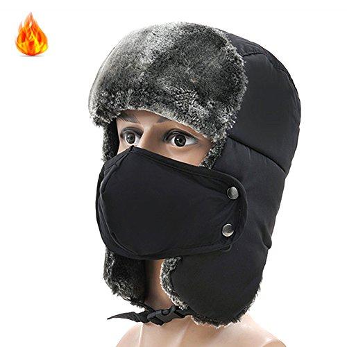 Winter Trapper Trooper Hat Ear Flaps Russian Bomber Ushanka Hunting Hat Black