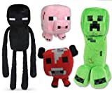 Minecraft Plush Set of 4 with Creeper Enderman Pig & Mooshroom