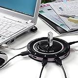 USBハブ 12ポート セルフパワー & バスパワー 隣のポートの邪魔をしない円盤型 400-HUB009