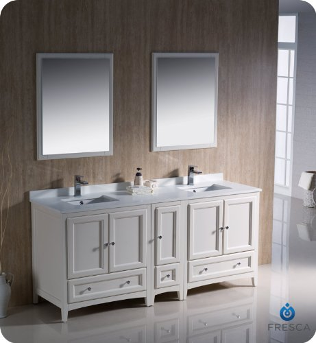 "Oxford 72"" Traditional Double Sink Bathroom Vanity Set Finish: Antique White front-586096"