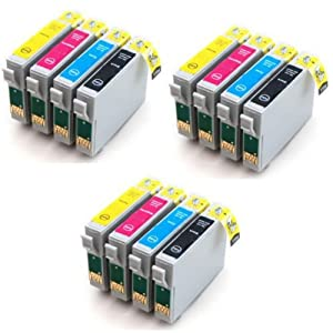 3 Full Sets : 12 High Capacity Compatible Ink Cartridges Multipack T0615 - T0611 T0612 T0613 T0614 for Epson Stylus D68 D88 DX3800 DX3850 DX4200 DX4800 DX4850 Printers