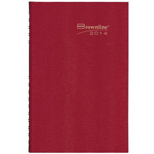 Brownline 2014 CoilPro Daily Appointment Book, Red, 13.375 x 7.875 Inches, Hard Cover with Twin-Wire Binding (C551C.Red)