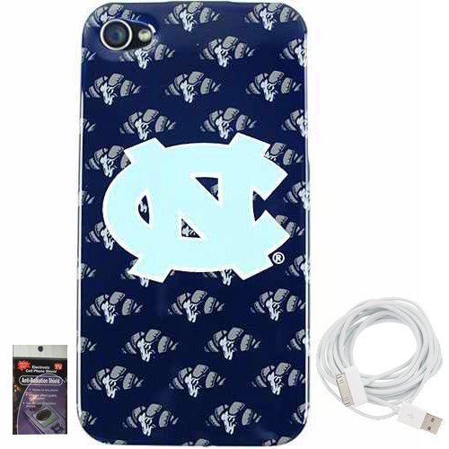 North Carolina Tarheels Mascot Snap on Cover for iPhone 4s, 4 with 10ft Charging Cable and Radiation Shield. at Amazon.com