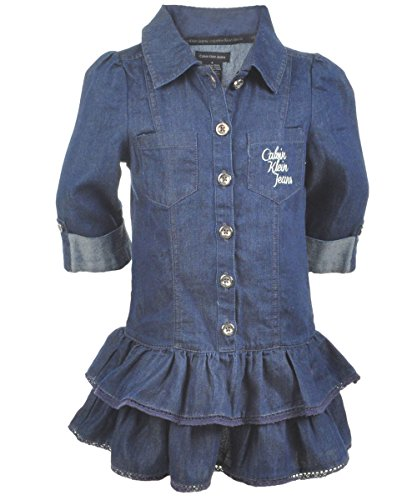 Calvin Klein Little Girls' Tiered Dress, Chambray, 6 front-1002299