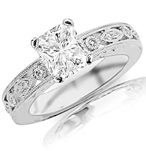 0.88 Carat Radiant Cut / Shape 14K White Gold Antique / Vintage Bezel Set Designer Diamond Engagement Ring ( G-H Color , SI2 Clarity )