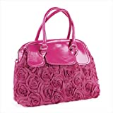 Hot Pink Faux Leather Rosette Handheld Bag AJ25545