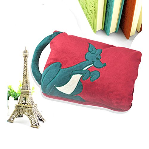 Greenery Cute Monkey/Cat/Kangroo Tail Anti-Explosion Portable Two Hands Inserted Body Hand Warmer Hot Water Bottle Electric Heat Warming Bag Cover Christmas Gift (No Water Injection) Deep Red Kangaroo