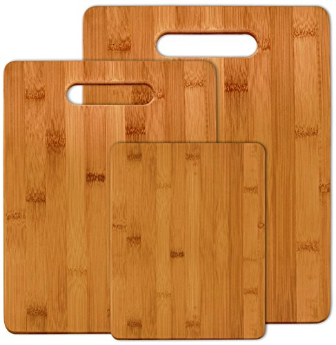 Bamboo Cutting Boards (Set of 3) - Fruit, Veggies, Meat Chopping Board - By Utopia Kitchen (Wooden Meat Cutting Board compare prices)