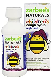 Zarbee's Naturals Children's Nighttime Cough Syrup, Grape, 4 Fl Ounce (Pack of 4) , Zarbee-g8w3