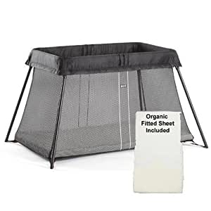 baby bjorn travel crib light with organic fitted sheet. Black Bedroom Furniture Sets. Home Design Ideas