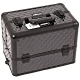 Craft Accents 6 Tiers Tray Professional Aluminum Cosmetic Makeup Case, All Black Diamond Pattern, 176 Ounce