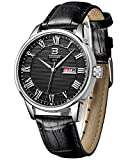 BINGER Mens Day Date Dress Watch Black With Roman Numeral And Calfskin Leather Strap 37M-2B