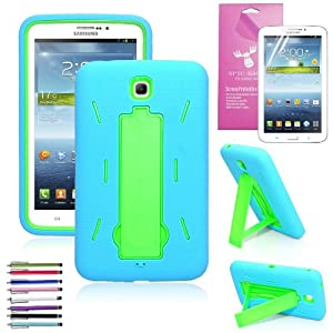 EpicGadget Shockproof Heavy Duty Rugged Impact Hybrid Case with Build In i Kickstand for Samsung Tablet Galaxy Tab 3 7.0 (Blue / Green)