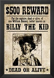 Professionally Framed Billy The Kid Western Wanted Sign Print Poster - 13x19 with Solid Black Wood Frame