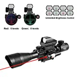 Pinty AR15 Rifle Scope 4-12x50EG Rangefinder Mil Dot Tactical Reticle Scope with Laser Sight and Red Dot Sight