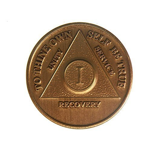 1 Year Bronze AA (Alcoholics Anonymous) Birthday - Anniversary Recovery Medallion / Coin / Chip
