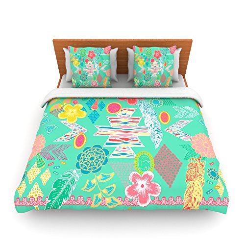 "Kess Inhouse Anneline Sophia ""Aztec Boho Emerald"" Teal Rainbow King Fleece Duvet Cover, 104 By 88-Inch front-953116"