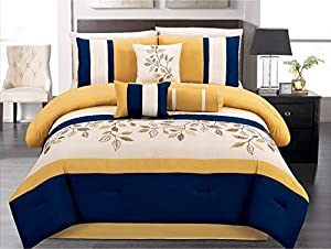 7 pieces luxury navy blue yellow off white - Blue and yellow bedding sets ...