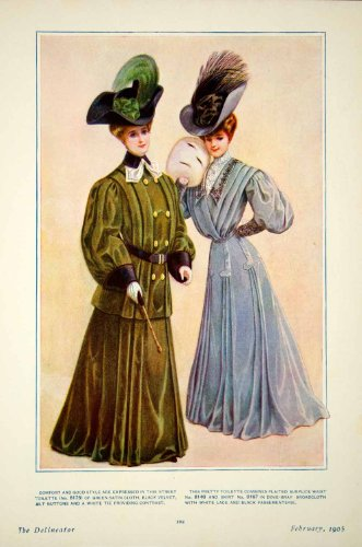 1905-color-print-edwardian-clothing-female-green-satin-cloth-black-velvet-lace-original-color-print