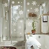 ウォールステッカー クリスマス パターンE 雪の結晶 ホワイト