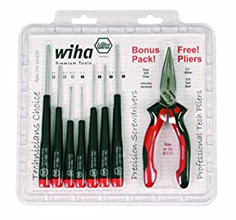 """Wiha 26190 Slotted and Phillips Screwdriver Set Bonus Pack with Professional 6.3"""" Long Nose Pliers, 8 Piece"""