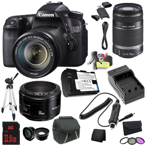 Canon Eos 70D 20.2 Mp Dual Pixel Cmos Digital Slr Camera (Refurbished) W/Ef-S 18-135Mm F3.5-5.6 Is Stm Lens + Canon Ef-S 55-250Mm F/4.0-5.6 Is Telephoto Zoom Lens + Canon Ef 50Mm F/1.8 Ii Slr Lens + Lp-E6 Replacement Lithium Ion Battery  + External Rapid