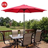 GotHobby 9ft Outdoor Patio Umbrella Aluminum w/ Tilt Crank - Red