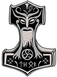 """Aufnäher Patch Thors Hammer """"Mjölnir"""" in 2 Größen (10 x 7)"""