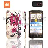 htc EVO 3Dケース stylish design silicon Case (au ISW12HT対応)【Purple Flower (紫花)】+ 液晶保護フィルム1枚