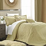 Chic Home 5-Piece Carina Pleated Handmade Technique Comforter Set, King, Champagne