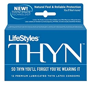 Lifestyles Thyn Premium Lubricated Thyn Latex Condoms, 12-count