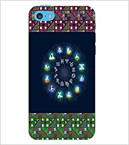 PrintDhaba Zodiac Wheel D-4795 Back Case Cover for APPLE IPHONE 5C (Multi-Coloured)