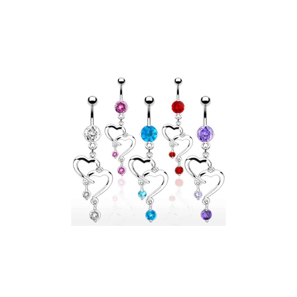 [Aqua] Romantic Style Fancy Navel Ring with Double Heart Dangle Containing 6 mm Round CZ Stone on Top   14G 3/8 Long   Aqua