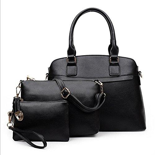 M-Queen PU in pelle 3 in 1 Set Bag con 1 Borsa a spalla 1 Borsa and 1 Purse nero moda progettazione bag