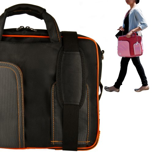Stylish ASUS K53U 16 Inch Notebook Accessories Pindar Shoulder Bag with Removable Shoulder Strap in Jet Black with Bio Orange Trim