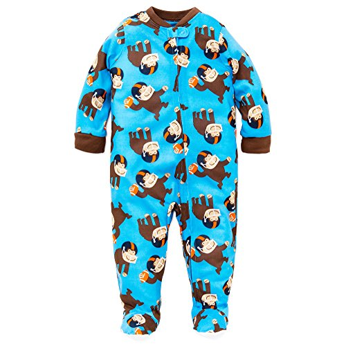 Little Me Baby Boys Monkey Soft Zip Footie Pajamas Footed Sleeper Blue 18M