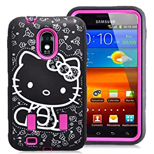 Hot Pink Hello Kitty Hybrid Impact Case For Samsung Galaxy S2 Epic Touch 4G D710