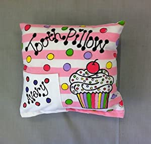 "Bunnies and Bows - ""Sweet Tooth"" Cupcake Tooth Fairy Pillow - Personalized Pillowcase"