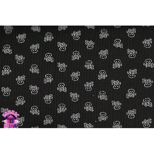 Wide Black & White Mini Skull Print Thermal Knit Fabric By the Yard