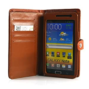 Brown / Wallet PU Leather Flip Case / Cover / Skin / Shell For Samsung Galaxy Note / GT-N7000 / i9220 +Free Screen Protector (7194-4)