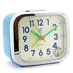 JCC Two Alarm Sound LED Night light Quartz Analog non ticking sweep second hand bedside alarm clock (Blue)